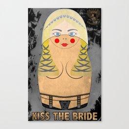 Blonde Kiss The Bride Bride Matryoshka / Nesting Doll Canvas Print