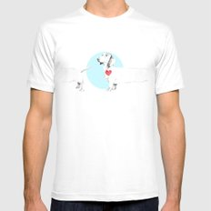 Long dog White Mens Fitted Tee MEDIUM