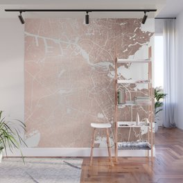 Amsterdam Rosegold on White Street Map Wall Mural
