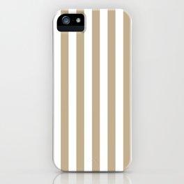 Narrow Vertical Stripes - White and Khaki Brown iPhone Case