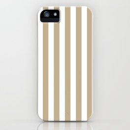 Narrow Vertical Stripes - White and Khaki Brown iPhone Case