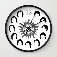 sam winchester Wall Clocks featuring Sam Winchester by atimeupononce