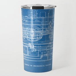 Steam Train Diagram - Blueprint Style Travel Mug