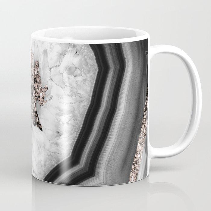 Gray Black White Agate with Rose Gold Glitter #2 #gem #decor #art #society6 Coffee Mug