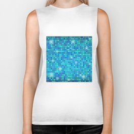 Abstract blue mosaic pattern Biker Tank