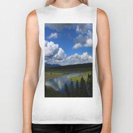 Meadow With Yellowstone River Biker Tank