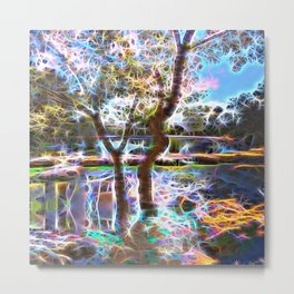 Trees Pond and Light Streams Metal Print