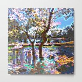 Trees Pond and Light Streams Metal Print