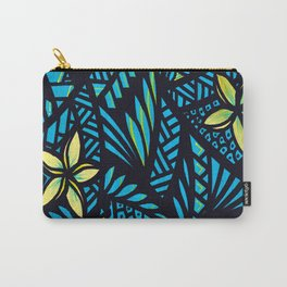 Teal & Black Tribals w/Plumerias Carry-All Pouch