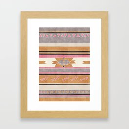 Rustic Tribal Pattern in Raw Sienna, Strawberry and Ash Framed Art Print
