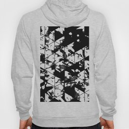 Splatter Triangles - Black and white, abstract, paint splat, triangular pattern Hoody