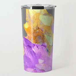 BOHO YELLOW & PURPLE QUARTZ CRYSTALS GREY ART Travel Mug