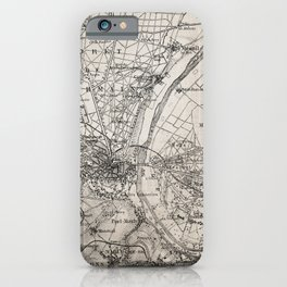 Vintage Paris old retro map iPhone Case