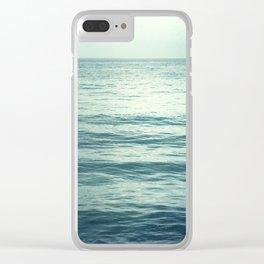 Seascape Photography, Teal Ocean Art, Dark Turquoise Minimal Sea Photo, Blue Ocean Coastal Print Clear iPhone Case
