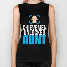 New Aunt Gift Achievement Unlocked Aunt Present for First Time Aunt Biker Tank