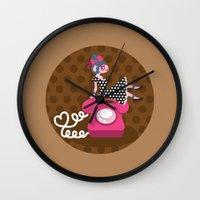 rockabilly Wall Clocks featuring  rockabilly love by Kopfzirkus