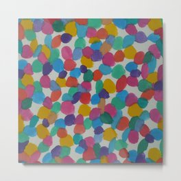 Rainbow Dots Abstract Watercolor Art Metal Print