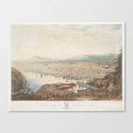Vintage Pictorial Map of St Johns Newfoundland (1831) Canvas Print