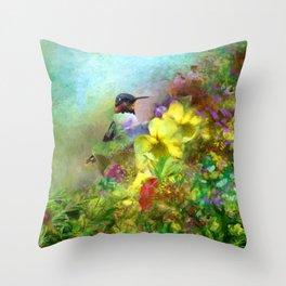 Hummingbird Bouquet Throw Pillow