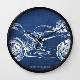 Blueprint, Superbike 1299 Panigale, 2015,brown background, gift for men, classic bike Wall Clock