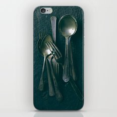 Beautiful Vintage Spoons on Black iPhone Skin