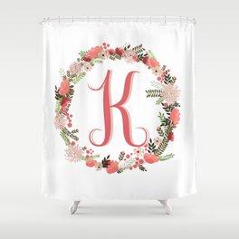 Personal monogram letter 'K' flower wreath Shower Curtain