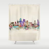 kansas city Shower Curtains featuring kansas city missouri by bri.buckley