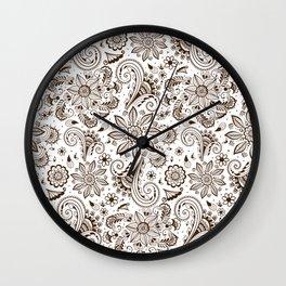 Mehndi or Henna Flowers Wall Clock