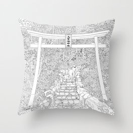 Shikaumi Shrine in Japan - Line Art Throw Pillow