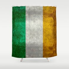 Republic of Ireland Flag, Vintage grungy Shower Curtain