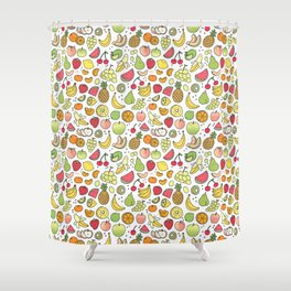 Juicy Fruits Doodle Shower Curtain