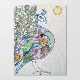 Planetary Peacock Canvas Print