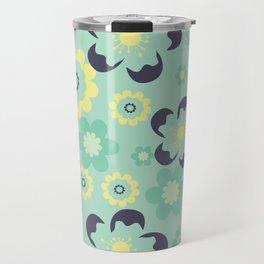 Blue pattern flower Travel Mug