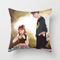 scully Throw Pillows featuring Hey Scully... by Jena Young