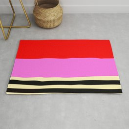 Red Pink Abstract Minimalism With Black Stripes Rug