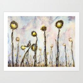 Bird Sings the Sunflower Blues Art Print