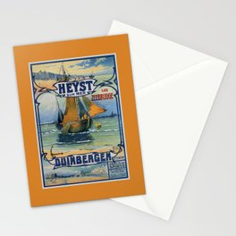 Antique travel fishing boat Heist Duinbergen Stationery Cards