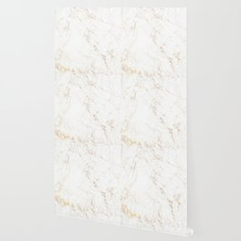 White Marble with Delicate Gold Veins Wallpaper