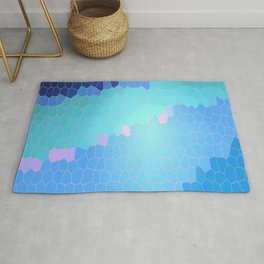 Waves Stained Glass Pixel Graphic Rug