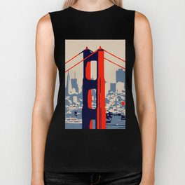 Golden gate bridge vector art Biker Tank