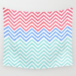 Chevron Blue and Red vintage Wall Tapestry