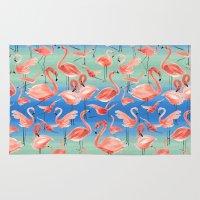 flamingos Area & Throw Rugs featuring Flamingos  by Ninola
