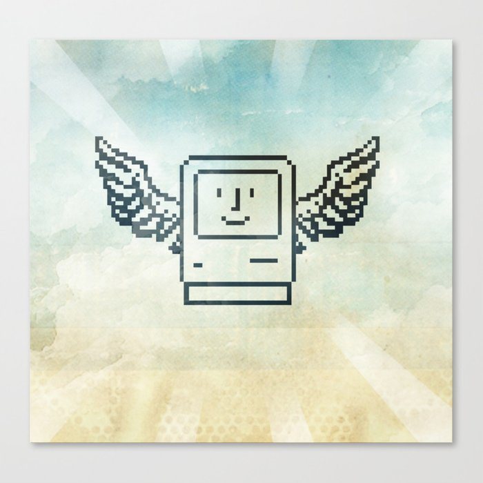 pixel mac with wings Canvas Print