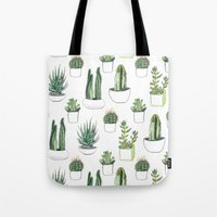 shower Tote Bags featuring watercolour cacti and succulent by Vicky Webb