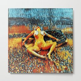 5198s-CH Abstract Nude Woman on Lake Superior Shore Rendered as Colorful Art by Chris Maher Metal Print