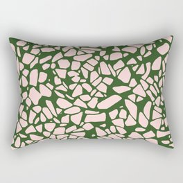 Stone Pattern - Salmon Pink & Olive Green Rectangular Pillow