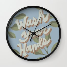 Wash Your Hands / Bathroom Botanical Typography Print Wall Clock
