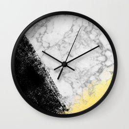 Marble with Black & Gold - gold foil, gold, marble, black and white, trendy, luxe, gold phone Wall Clock