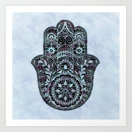 Watercolor Blue Pink Hamsa Hand Art Print