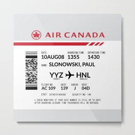 Boarding Pass SLP Metal Print
